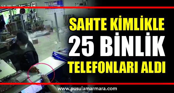 Sahte kimlikle kargo şirketinden başkalarına ait 25 bin TL'lik telefonları aldı